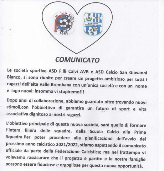 Un progetto nuovo di calcio per l'alta Val Brembana che coinvolge San Giovanni e Fratelli Calvi